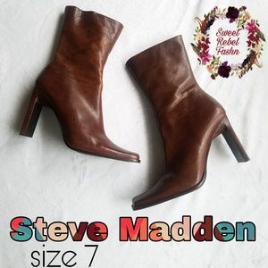 Steve madden Brown leather boots size 7